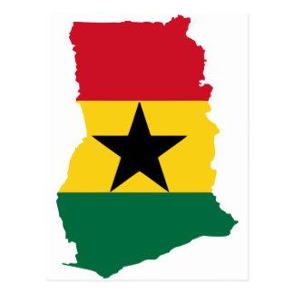 Mapa de la bandera de Ghana Tarjeta Postal