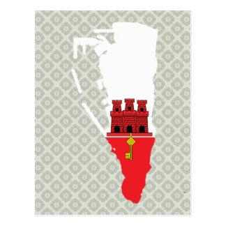 Mapa de la bandera de Gibraltar del mismo tamaño Postal