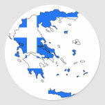 Mapa de la bandera de Grecia Pegatina Redonda