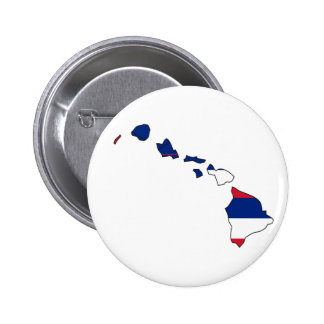Mapa de la bandera de Hawaii Pin Redondo De 2 Pulgadas
