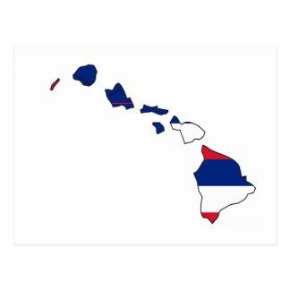 Mapa de la bandera de Hawaii Tarjetas Postales