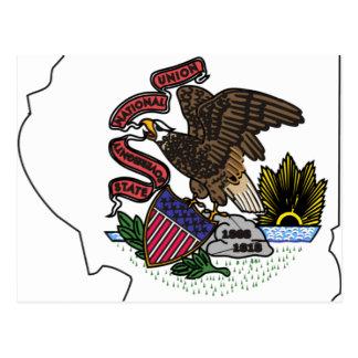 Mapa de la bandera de Illinois Postal