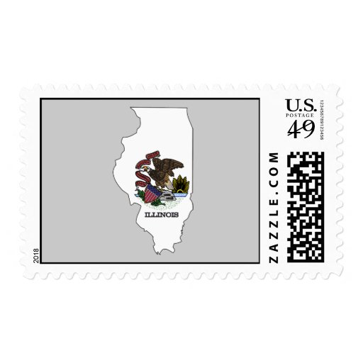 Mapa de la bandera de Illinois Timbres Postales