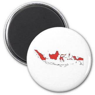 Mapa de la bandera de Indonesia del mismo tamaño Imán Redondo 5 Cm