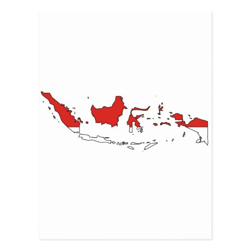 Mapa de la bandera de Indonesia Postal