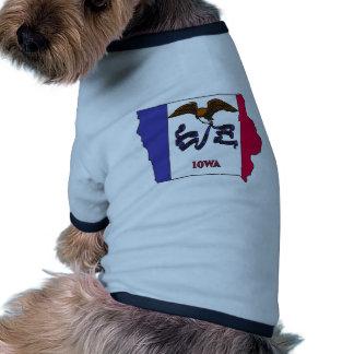 Mapa de la bandera de Iowa Camisetas De Perro