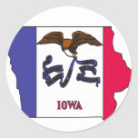 Mapa de la bandera de Iowa Pegatina Redonda