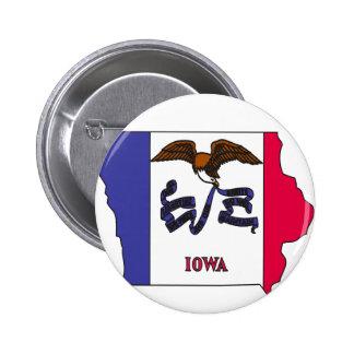 Mapa de la bandera de Iowa Pin Redondo De 2 Pulgadas