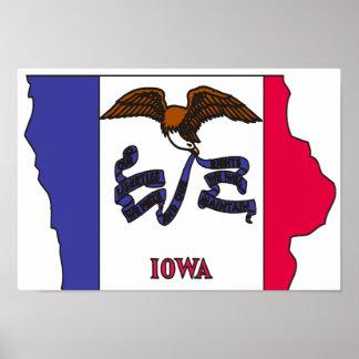 Mapa de la bandera de Iowa Poster