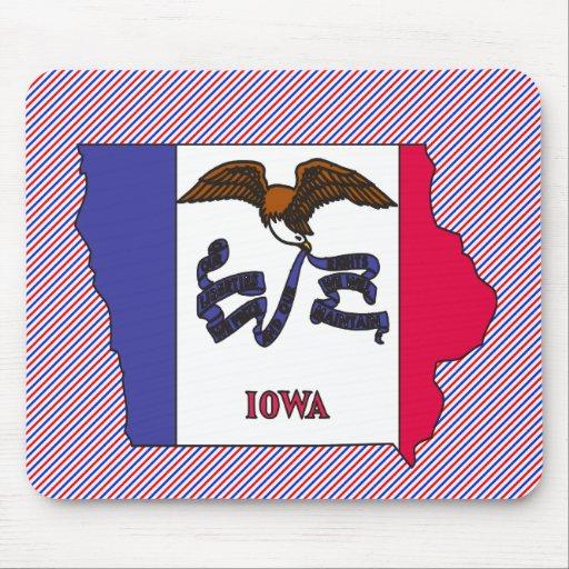 Mapa de la bandera de Iowa Tapete De Ratones