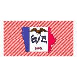 Mapa de la bandera de Iowa Tarjeta Fotografica