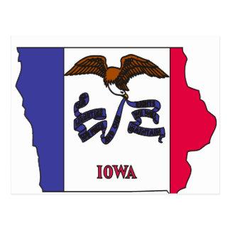 Mapa de la bandera de Iowa Tarjeta Postal