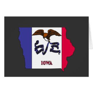 Mapa de la bandera de Iowa Tarjeton