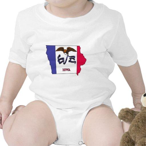 Mapa de la bandera de Iowa Trajes De Bebé