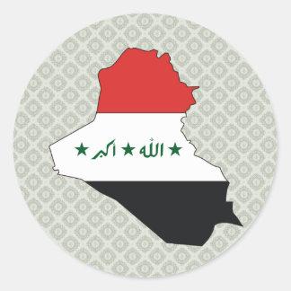 Mapa de la bandera de Iraq del mismo tamaño Pegatina Redonda