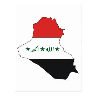 Mapa de la bandera de Iraq Tarjeta Postal