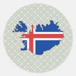 Mapa de la bandera de Islandia del mismo tamaño Pegatina Redonda