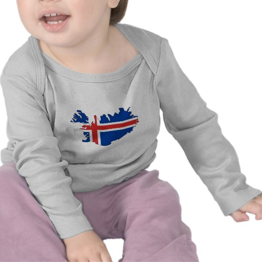 Mapa de la bandera de Islandia del mismo tamaño Camisetas