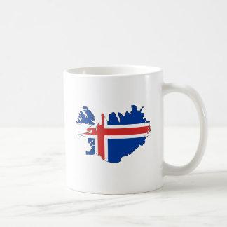 Mapa de la bandera de Islandia del mismo tamaño Taza Básica Blanca