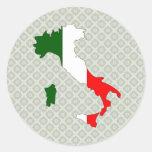 Mapa de la bandera de Italia del mismo tamaño Pegatinas Redondas