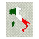 Mapa de la bandera de Italia del mismo tamaño Postal