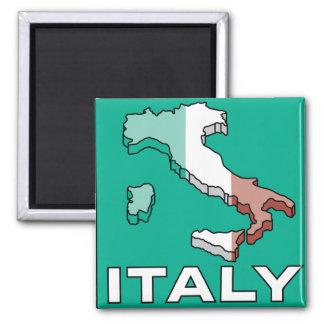Mapa de la bandera de Italia Imán Cuadrado