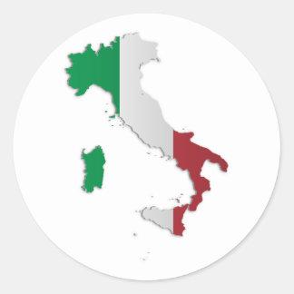 Mapa de la bandera de Italia Pegatina Redonda