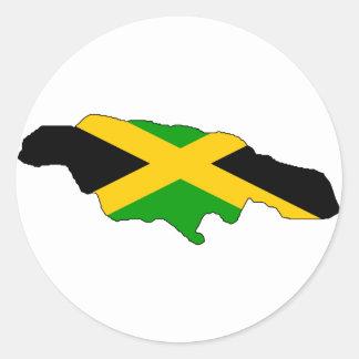 Mapa de la bandera de Jamaica Pegatina Redonda