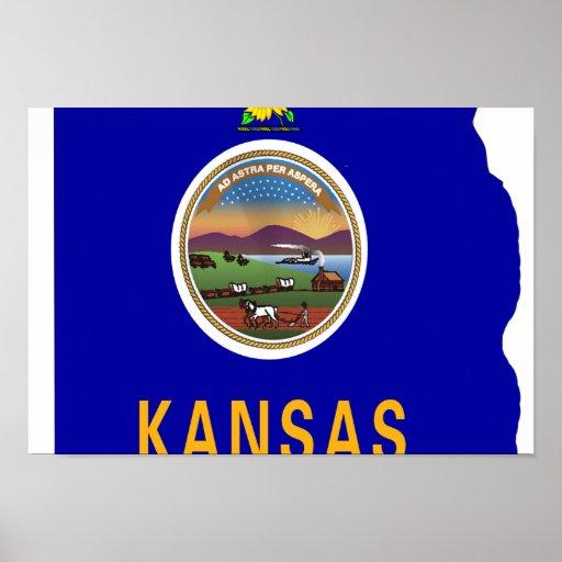 Mapa de la bandera de Kansas Posters