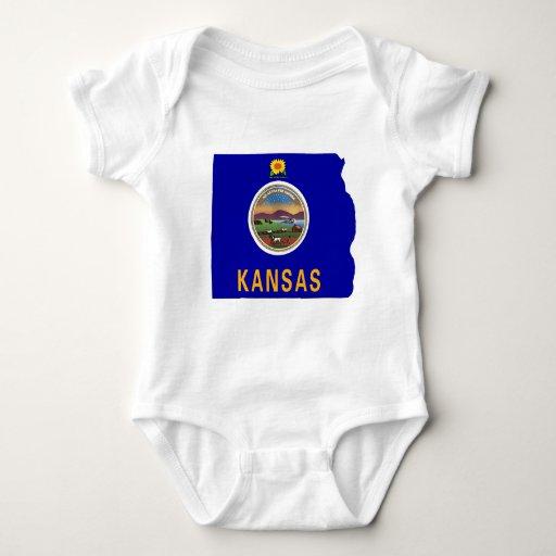 Mapa de la bandera de Kansas T-shirt