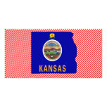 Mapa de la bandera de Kansas Tarjeta Fotografica Personalizada