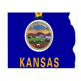 Mapa de la bandera de Kansas Tarjetas Postales