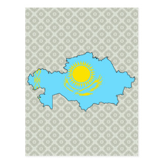 Mapa de la bandera de Kazajistán del mismo tamaño Tarjeta Postal