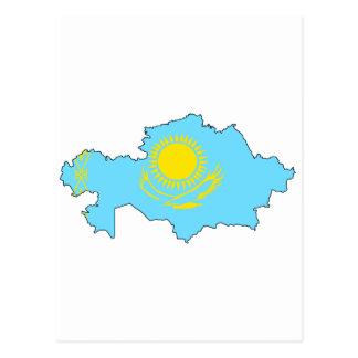 Mapa de la bandera de Kazajistán Tarjeta Postal