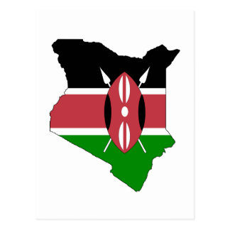 Mapa de la bandera de Kenia Tarjetas Postales