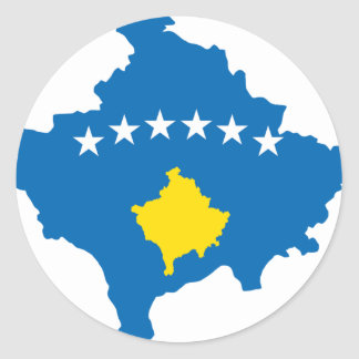 Mapa de la bandera de Kosovo Pegatina Redonda