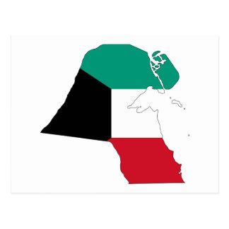 Mapa de la bandera de Kuwait Postales