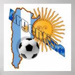 Mapa de la bandera de la Argentina Sun de los rega Poster