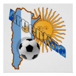 Mapa de la bandera de la Argentina Sun de los rega Póster