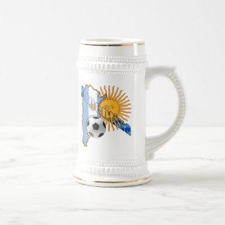 Mapa de la bandera de la Argentina Sun del mundial Jarra De Cerveza