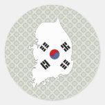 Mapa de la bandera de la Corea del Sur del mismo Pegatina Redonda