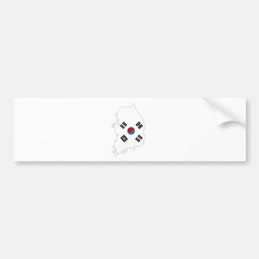 Mapa de la bandera de la Corea del Sur del mismo Pegatina Para Auto