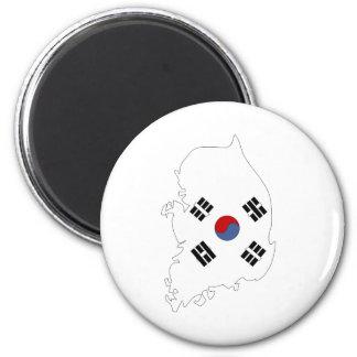 Mapa de la bandera de la Corea del Sur del mismo t Imán Redondo 5 Cm
