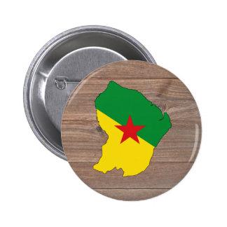 Mapa de la bandera de la Guayana Francesa del Pin Redondo 5 Cm