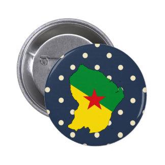 Mapa de la bandera de la Guayana Francesa en Pin Redondo 5 Cm