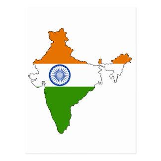Mapa de la bandera de la India Tarjetas Postales