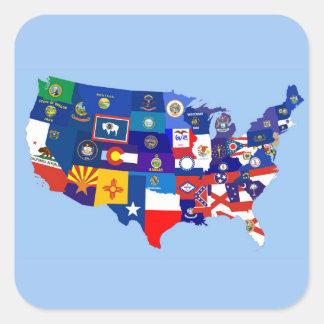 mapa de la bandera de la república de los E.E.U.U. Pegatina Cuadrada