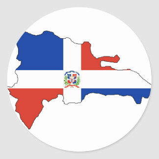 Mapa de la bandera de la República Dominicana Pegatina Redonda