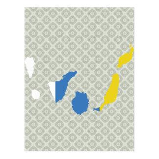 Mapa de la bandera de las islas Canarias del mismo Postal