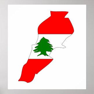 Mapa de la bandera de Líbano del mismo tamaño Póster